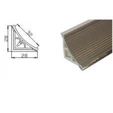 PLN AL-R  Плинтус столешницы 3м. алюминевый рифленый, вогнутый, шт.
